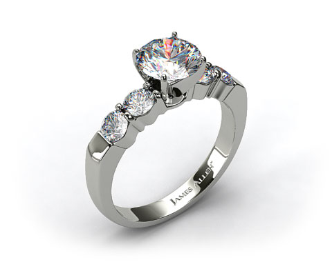14k White Gold Common Prong Four Round Diamond Engagement Ring